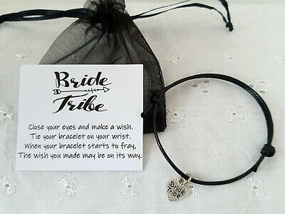 Bride Tribe Wish Bracelet Hen Party Favor With Organza Gift Bag *Choose Colour*
