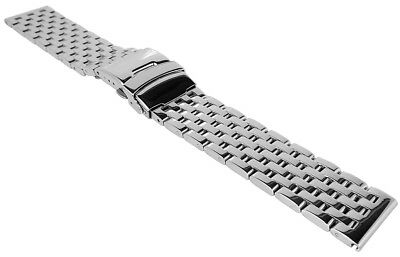 Minott Wrist Watch Band 22mm Stainless Steel Band Solid Folding Clasp > 36371