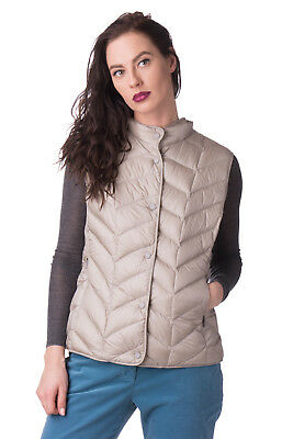 JAN MAYEN Down Quilted Gilet Size IT 46 / L Popper Front Funnel Neck RRP €230