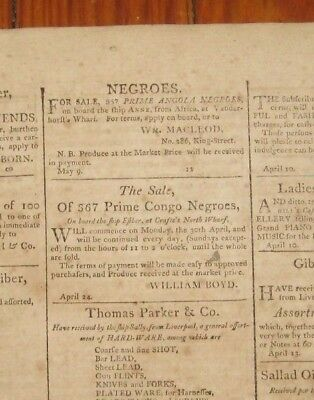 1804 Charleston Courier, Sale of 724 Slaves Off of Slave Ships, 7 Slave Ad's