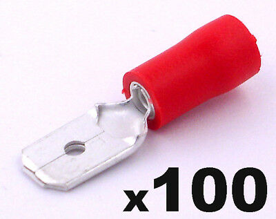 100x Insulated Red Male Electrical Spade Crimp Connector Terminals - 6.3mm Width