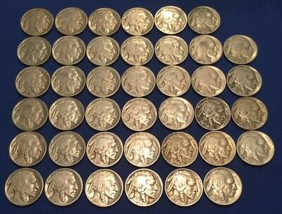 Lot of 40 Buffalo Nickels, Full Readable, Mixed Dates for Collection