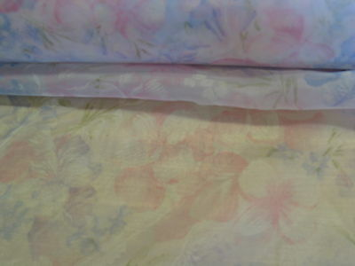 "A170 FABRIC Woven Sheer Pink and White Floral Polyester 60"" W UNIQUE 2 Yds"