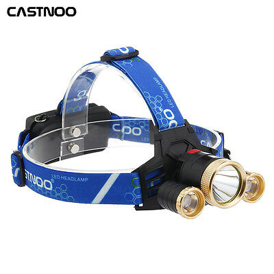 50000 LM  T6 3X LED Headlamp Bicycle Light Rechargeable Hiking Headlight PK