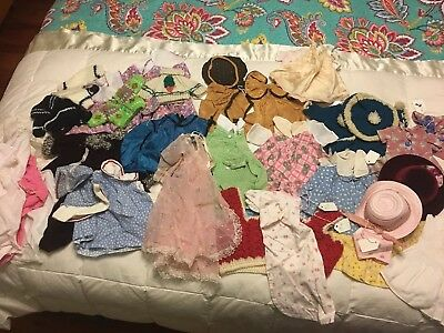 Vintage Lot Of 25+ Clothes Mostly Crochet Fabric Hand Made Assorted Sizes