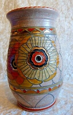 "Art Deco Charlotte Rhead Crown Ducal 1930s 'Rhodian' Tubelined Vase 6.35"" Tall"