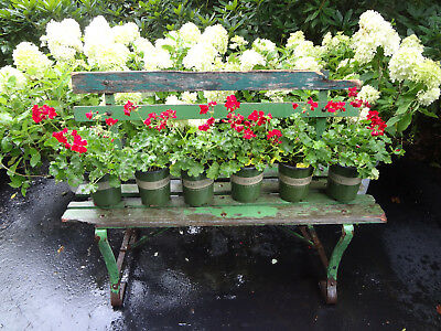 Vtg Antique Estate Garden Rustic Wood & Iron Lawn Planter Stand Bench Seat Chair