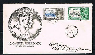 grenada 1935 silver jubilee 1/2d + 1d  on a illustrated FDC