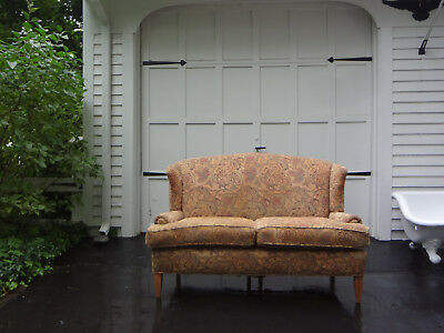 Vtg Henredon Mid Century Fortuny Fabric Wingback Settee Sofa Loveseat Arm Chair