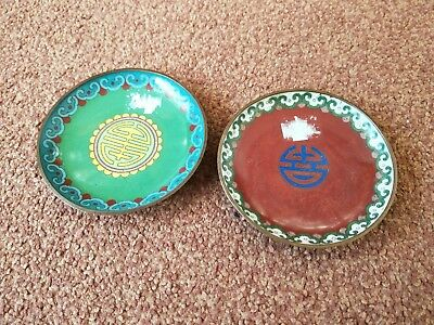 two small  vintage old Chinese cloisonne plates