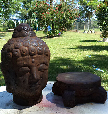 Large Buddha Head Bust Cement Statue And Stand Rusty Iron Aging Patina Stained