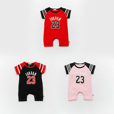 Newborn JORDAN 23 ROMPER +HAT Baby Boy Girl Kids Romper Body Clothes Suit Outfit