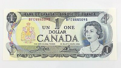 1973 Canada 1 One Dollar BFE Prefix Canadian Uncirculated Currency Banknote I395