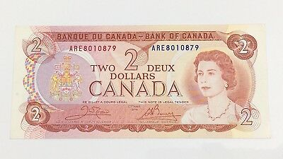 1974 Canada 2 Two Dollar ARE Prefix Canadian Circulated Currency Banknote I397