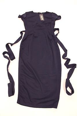 c4be7c57b36f boohoo Women's Eva Pleat Front Belted Tailored Midi Dress Navy GG8 Size  US:6 NWT