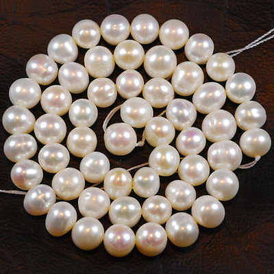 """8-9MM Natural White Freshwater Pearl Loose Beads 15"""" LL001"""