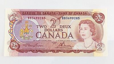 1974 Canada 2 Two Dollar BB Prefix Canadian Uncirculated Currency Banknote I398z