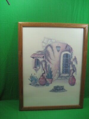 Vintage Wooden Framed Glass Covered Picture of Desert Home Cactus By Carol Jean
