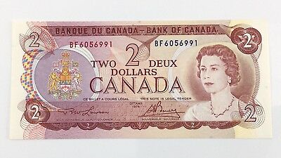 1974 Canada 2 Two Dollar BF Prefix Canadian Uncirculated Currency Banknote I399z