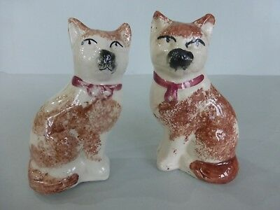 Pair 19Thc. Staffordshire Cats With Bows C.1880 - Good Condition
