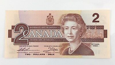 1986 Canada 2 Two Dollar CBB Prefix Canadian Uncirculated Currency Banknote I401