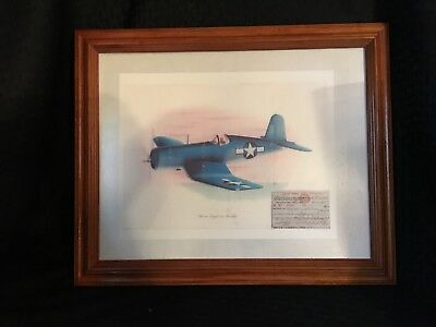 Vintage Chance Vought F4U-1 Consair With 1943 Membership Card Framed