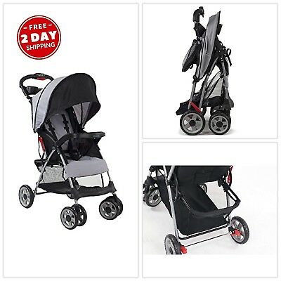 Lightweight Baby Stroller Reclining Seat Extended Canopy One Hand Fold Basket