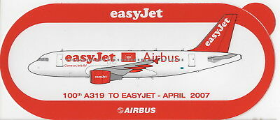 ~ EASYJET ~ Airbus A319 ~ 100th Delivery April 2007 Sticker / Decal ~ RARE ~