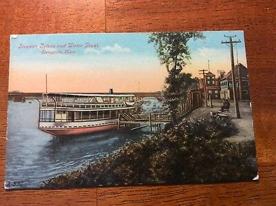 Postcard Springfield, Mass. Steamer Sylvia and Water Front. Unposted