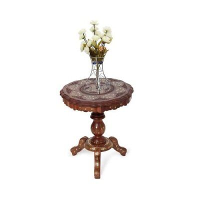 Wooden coffee Table Round Handmade In India Inlay with Brass Solid Wood Endtable
