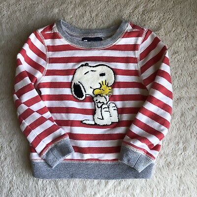 BABY GAP + PEANUTS SNOOPY 3T SWEATSHIRT TOP Red And White Stripes