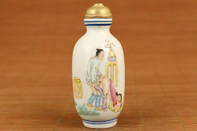 Rare chinese old porcelain hand painting Art Belle Statue married snuff bottle
