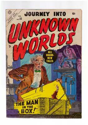 Journey into Unknown Worlds #  33  Man in a Box !  grade 5.0 scarce Atlas book !
