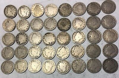 5 CENT ROLL - LIBERTY NICKEL - V - LOT of 40 - (1883-1912) - See Pics - C