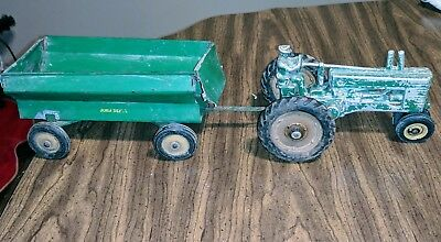 VINTAGE  1940's John Deere Model-A Tractor with rider. Made by Ertl.