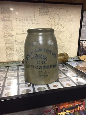 Antique Stoneware Crock Early Canning Jar Jas Hamilton Greensboro Pa