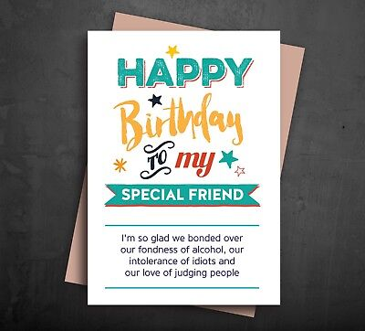 FUNNY BIRTHDAY CARD Special Best Friend Alcohol Gin Wine Joke Comedy Humour A523