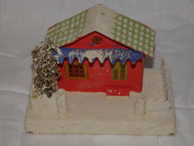 Vintage Christmas Putz Cardboard Red House Japan