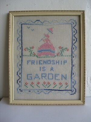 "Antique 19C AMERICAN SAMPLER NEEDLEWORK ""FRIENDSHIP IS A GARDEN"" FLOWERS WOMAN"