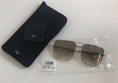 76e0fbbf7 Brand New Authentic Celine CL 41808/S Sunglasses J5GXY 61mm Gold Frame