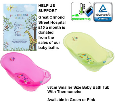 Aqua Lux 86cm Smaller Size Baby Bath Tub With Thermometer Blue, Green or Pink