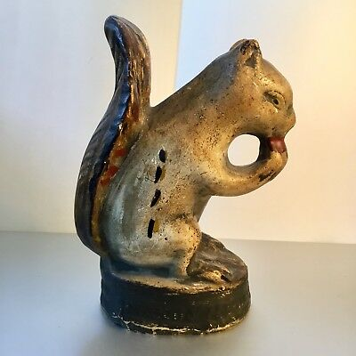 Antique 19th Century Chalkware Squirrel Polychrome Paint  Pennsylvania Folk Art