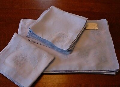 Fabulous Marghab Linens 24 Pieces Placemats,Napkins,Runner Blue Hortensia (?)