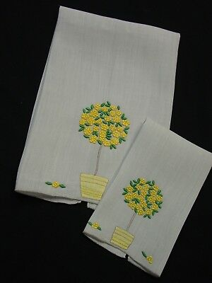 """2 Vintage Marghab Guest Towels """"Rose Tree"""" Yellow on Pearl Grey 2 Sizes"""
