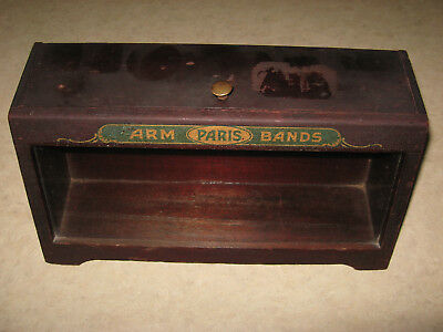 Vintage Advertising Countertop Display Case - PARIS ARM BANDS - Wood & Glass