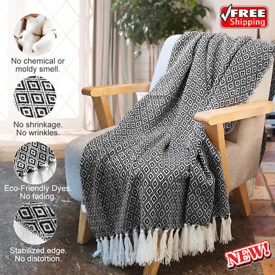 Wearable Soft Warm Knitted Throw Blanket With Tassels Sofa Coach Bed Geometrical