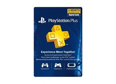 Ps plus 3 months Ps4 Ps3 vita 6X14 day membership *No code* please read the inst