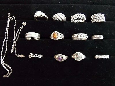 13 ps lot sterling silver 925  ring lot jewelry vintage to now AS IS NO RETURNS