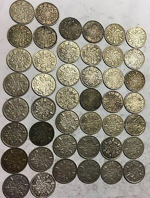 Lot Of (44) Silver Sixpence - Uk - (1928-1936) - Oak Sprig/acorn - 50% Silver