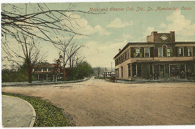 Main and Charter Oak. Sts., So, Manchester, Conn. old postcard